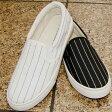 【靴】レディース ストライプ スリッポン 婦人靴