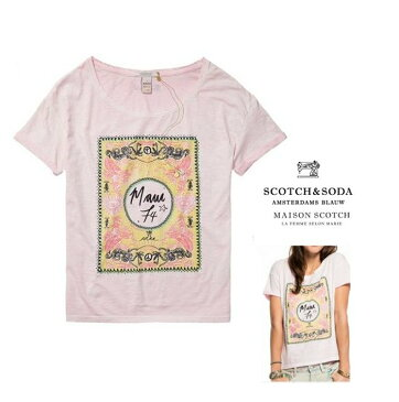 MAISON SCOTCH【 メイソンスコッチ 】アート プリント 半袖Teecolor:【 LIGHT PINK 】ピンク