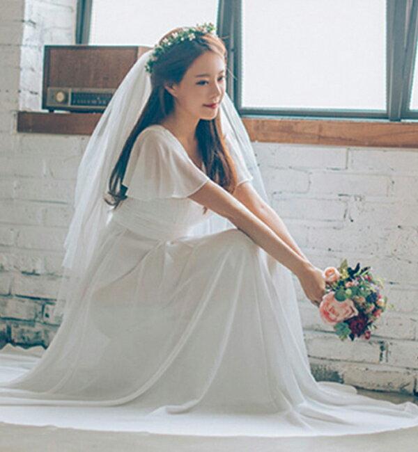 (XS  即納可能)ウエディングドレス 二次会 (挙式/撮影)プリーツ Vネック 2次会 結婚式 花嫁 ドレス 前撮り 結婚式 披露宴 二次会 フォトウエディング ハネムーンフォト レース フォーマル おしゃれ