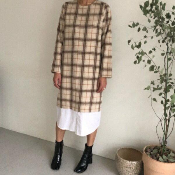 【orubiaオルビア】ワンピースシャツタータンチェック切替ベージュ