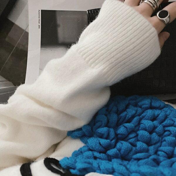 【orubiaオルビア】ニットセーターモンスターオーバシルエットトップスデザインニットロングスリーブ秋冬ホワイトネイビー