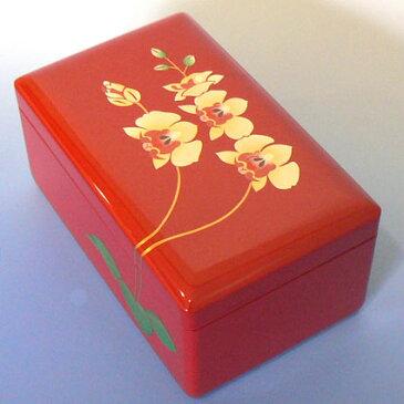 【お名入れ無料】30弁会津塗り小物入れオルゴール 小 (赤/蘭/内蓋ガラス) プレゼント