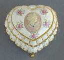 ハート型花柄陶板宝石箱(ピンクのカメオ付き/♪星に願いを) アンチモニーオルゴール♪【オルゴールギフト/誕生日・クリスマス】 プレ…