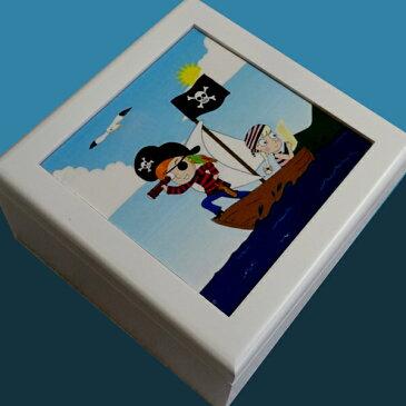 333曲以上から選べる! 宝石箱オルゴール(正方形/アートボックス) 海賊 海 ♪こどもの日 入学祝 男の子 誕生日 ≪18弁曲目選択オルゴール≫ プレゼント