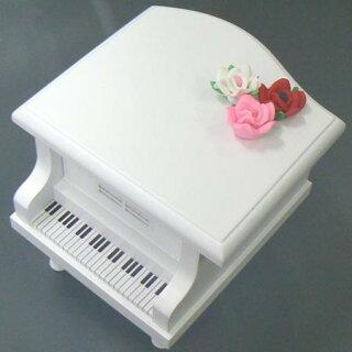 ミニグランドピアノ白バラの飾り新赤入り
