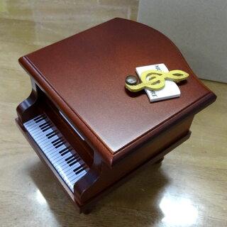 300曲以上から選べる!ミニピアノ型オルゴール(こげ茶)ト音記号音符の飾り≪18弁曲目選択オルゴール≫プレゼント