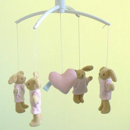 トラセリアベッドメリー(バニーボーダーTシャツ:ピンク/♪星に願いを)オルゴールフランスのブランド【クリスマスオルゴール誕生日出産祝い】プレゼント