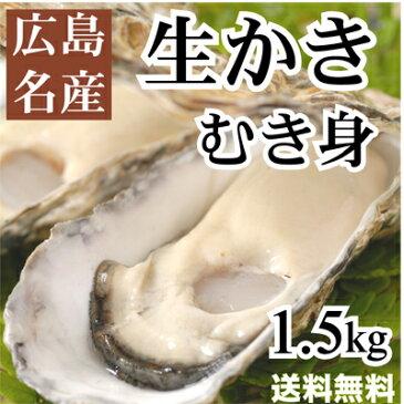 広島産生牡蠣(かき)むき身1.5kg入り【送料無料】(加熱用)