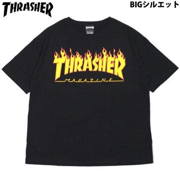 スラッシャー THRASHER FLAME TEE(BIG SILHOUETTE)(ブラック 黒 BLACK)スラッシャーTシャツ THRASHERTシャツ スラッシャーマグロゴ THRASHERマグロゴスラッシャーMAGLOGO THRASHERMAGLOGO 半袖 MAG LOGO マグロゴ