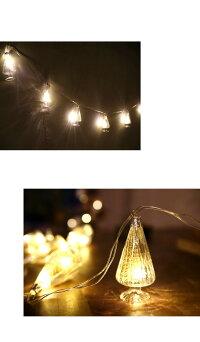 小さな光るツリーを波ガラスに閉じ込めたLEDガーランドクリスマス雰囲気おしゃれアンティカフェgoods