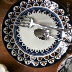 パターン 20cmプレート フラワー 日本製 美濃焼 洋食器 オシャレ食器 カフェ CAFE モダン レトロ お洒落 陶器 モダン アンティカフェ taw