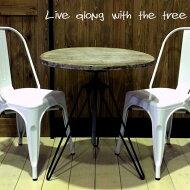 【送料無料】白色木目調丸テーブルウッドテーブルアンティークレトロカフェ昇降可能エイジング仕上げオシャレ家具