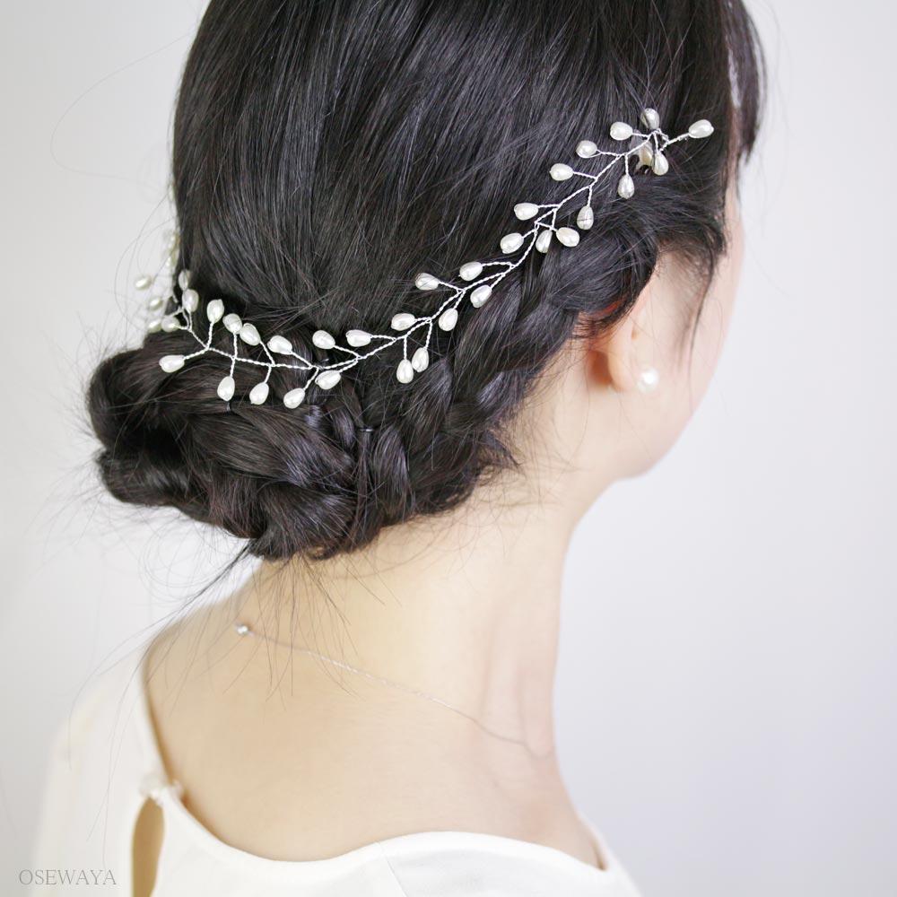 コームパールの枝冠カチューシャヘッドドレス[お世話や][osewaya]おしゃれ大人上品エレガントカジュアルオフィスレディースヘアアレンジギフト簡単装着手軽まとめ髪結婚式