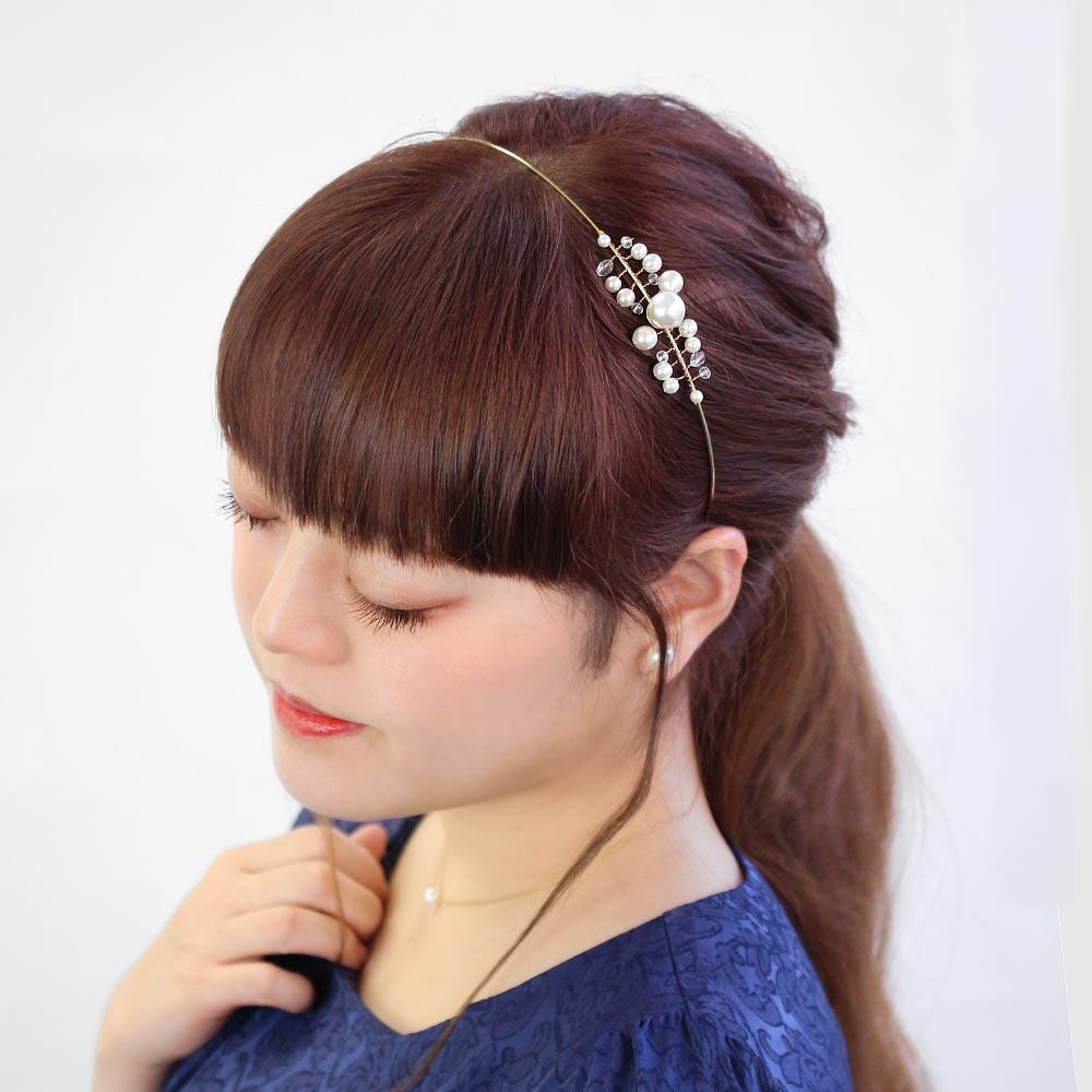 カチューシャパールビーズラインメタル細線[お世話や][osewaya]おしゃれ大人上品エレガントカジュアルオフィスレディースヘアアレンジギフト簡単装着手軽まとめ髪結婚式
