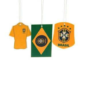 送料無料/ファンは大喜び【ブラジル CBF】【サッカー ブラジル代表】一目でわかる/ブラジリアン イエロー【エア フレッシュナー】3点セット/愛車内に ! お家に ! オフィスでも !/ブラジル 大好きな人へ/3点でこの価格【発送はDM便】