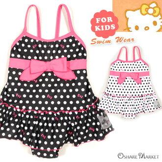 HELLO KITTY 女童為點模式一件泳裝 Hello Kitty 孩子孩子孩子女部長會議褶邊黑色白色 100 110 120 130
