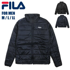 大きいサイズあり FILA フィラ メンズ中綿ジャケット 448-900 男性 紳士 長袖 アウター ジップアップ ジッパー ファスナー 紫外線防止 UV リフレクター 反射 ロゴ ブラック ネイビー 黒 紺 BK NV M L LL 送料無料