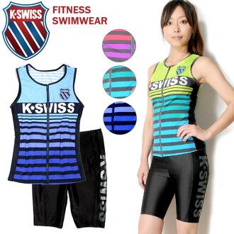 大尺寸是 K.SWISS 瑞士健身泳裝兩集的女士 35450433 無袖郵編郵編郵編 tankini 斯派茨差異單獨分離邊界灰色粉紅色黃色海軍藍色 9 米 11 L 13 L 游泳