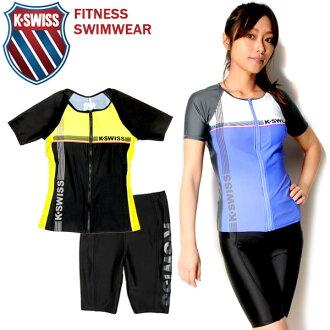大尺寸是 K.SWISS 瑞士健身泳裝兩集婦女 35450432 短袖短袖 zip 緊固件拉鍊差異單獨分離 tankini 口角游泳黑藍色粉紅色 7S 9 米 11 L 13 L 10P28Sep16