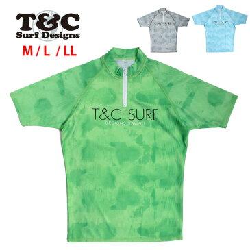 T&C メンズ用半袖ラッシュガード水着 M L LL Town&Country タウンアンドカントリー タウカン 男性用 半そで プルオーバー ジッパー ジップ ファスナー UVブロック 紫外線防止 ロゴ グレー ブルー グリーン 大きいサイズあり あす楽 メール便送料無料