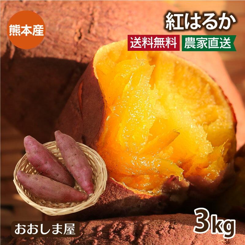 さつまいも紅はるか3kg送料無料サツマイモべにはるか生芋さつま芋唐芋からいも土付き泥付き野菜旬料理レシピ国産熊本大嶌屋(おおしまや)