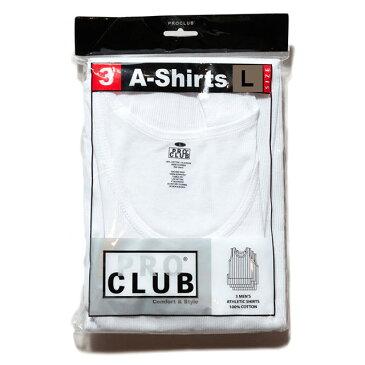 【メール便送料無料】 8/2(金) L size 再入荷! PRO CLUB (プロクラブ) A-Shirts White 3pack タンクトップ メンズ リブ 綿100% インナー 3枚パック パック セット 白 M-XL 大きいサイズ 【あす楽対応】