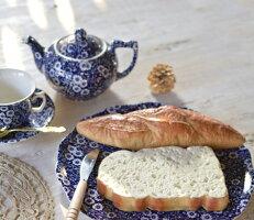 英国食器バーレイ社ブルーキャリコケーキプレートΦ29.5cm