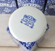 英国食器バーレイ社ブルーキャリコスクエアキャニスターTEAイギリス/陶器/おしゃれ/保存容器/紅茶/ティー