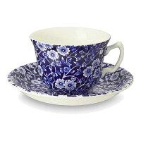 イギリス食器バーレイ社ブルーキャリコティーカップ&ソーサー花柄/おしゃれ/かわいい/おすすめ/ギフトセット