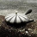 **前川淳蔵作常滑焼白黒ストライプ極平型急須茶注120cc日本製/陶器/作家もの/玉露