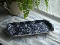 イギリス食器バーレイ社ブルーキャリコサンドイッチトレイ28cmお皿/花柄/料理/おしゃれ/かわいい