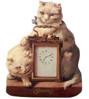 猫とアンティーククロックイーゼルカード封筒付き