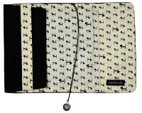 ブックカバー文庫本カバー文庫本サイズマーカー付き可愛いネコ耳ベージュブラック刺繍ネコ柄猫雑貨通販キャットノアファミリー