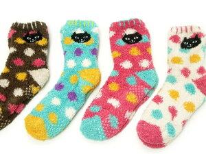 水玉柄が可愛い【メール便OK】イタズラネコちゃんが靴下になりました♪とっても可愛くてちょっ...