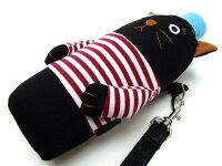 ペットボトルホルダーペットボトルケース保冷ネコシャロンペットボトルホルダー500ml用黒猫猫雑貨薔薇雑貨のおしゃれ姫かわいいキャラクター
