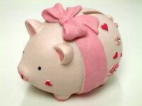 ぶたさんの貯金箱大きなリボンアニマル貯金箱ギフトにおすすめばら雑貨バラ雑貨薔薇雑貨ローズ薔薇雑貨のおしゃれ姫