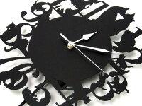 振り子時計猫ブラック数字+ネコデザインLサイズ電池式掛け時計かけ時計黒猫スチール