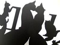 【送料無料】振り子時計猫ブラック数字+ネコデザインLサイズ電池式掛け時計かけ時計黒猫スチールネコグッズインテリア雑貨時計とけい猫雑貨ねこ薔薇雑貨のおしゃれ姫【楽ギフ_包装】【プチギフト】【05P10Jan15】