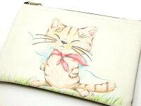 ポーチLネコ柄YAMANEKO手書きタッチやまねみえこ猫柄ねこ柄化粧ポーチフラットポーチ小物入れネコグッズ