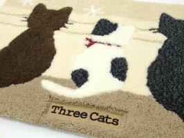 マットスリーキャットベージュ3匹猫猫柄玄関マットリビングマットアクセントマット滑り止め加工インテリア雑貨ネコグッズ