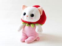 ぬいぐるみ猫いちごコスチューム白猫Mサイズフルーツ猫choochoo本舗チューチュー本舗ねこネコグッズ猫雑貨薔薇雑貨のおしゃれ姫