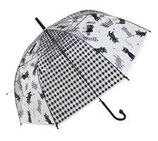 ノアファミリービニール傘音たまネコ柄ネコマニア長傘雨傘ワンタッチ式開閉POE素材ブラック/ホワイト