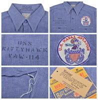 バズリクソンズBuzzRickson's)×PEANUTS半袖ブルーシャンブレーワークシャツSNOOPYBR37637