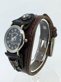 【中古】ALZUNI / アルズニ レザーリストウォッチ 腕時計ブラック×ブラウン系 クォーツ 革(レザー)ベルト