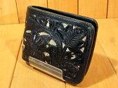 【中古】ALZUNI/アルズニ パイソンレザーウォレット 二つ折り財布カラー:ブラック×ベージュ