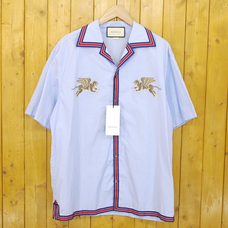 【中古】GUCCI/グッチ タイガー フィルクーペ ボウリングシャツ サイズ:50 カラー:ブルー【f108】【gwpu】