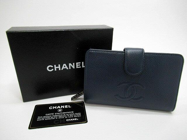 【中古】CHANEL/シャネル A50073 キャビアスキン 二つ折り財布/ウォレット カラー:ネイビー:お宝市番館