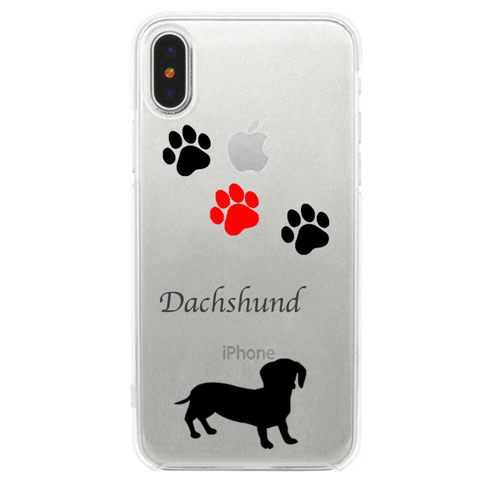 【 送料無料 】iPhoneケース iPhone 11 iPhone 11 Pro iPhone 11 Pro Max iPhone11 iPhoneXS Max XR ソフトケース TPU クリア フットプリント レッド ダックスフンド 犬 ドッグ | iPhoneケース iPhoneカバー x おもしろ スマホケース iphone se ケース 第2世代