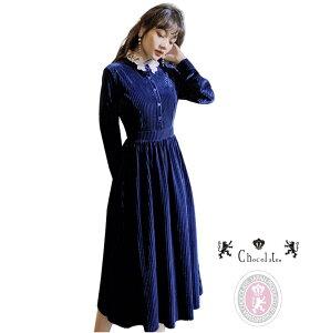 ロイヤル ブルー ベルベット 襟レースがキュート レトロ ワンピース ドレス