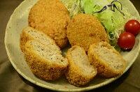 【飯島畜産】いばらき地養豚メンチ・いばらき地養豚コロッケセット。いばらき地養豚コロッケの食感はふわとろ!お口の中でとろけます。